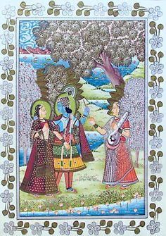 Radha krishna with gopini holding