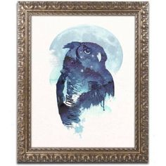 Trademark Fine Art 'Midnight Owl' Canvas Art by Robert Farkas, Gold Ornate Frame, Size: 11 x 14, Blue