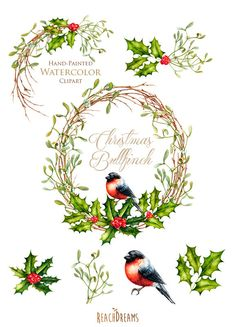 Corona di Natale e mazzi di fiori. Con uccello di ReachDreams