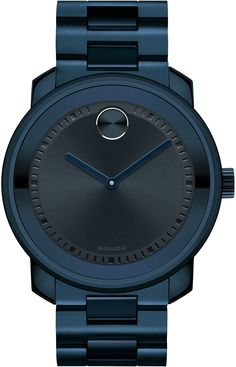 Movado Bold - Large Movado BOLD watch, 42.5 mm ink blue ion-plated stainless steel case, dark navy metallic dial with matching sunray dot and ink blue hands, ink blue ion-plated stainless steel link bracelet with push-button deployment clasp, K1 crystal, Swiss quartz movement, water resistant to 30 meters.
