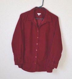 b441bdcb305 TALBOTS WOMAN Size 2X Dark Red Corduroy Button Up Shirt Top Blouse EUC!   fashion
