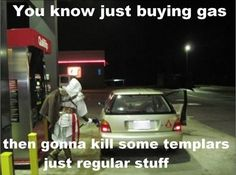 Haha... I can relate. Pumped gas as a fairy, Cinderella, or something else multiple times... When you gotta, you gotta