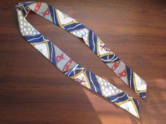 Navy Blue Silk Twilly Scarf Bag Tie Hair Tie by SummerMatcha