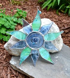 Water Flower Stained Glass Suncatcher. .
