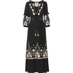 Figue Lola tasseled embroidered silk maxi dress ($1,705) ❤ liked on Polyvore featuring dresses, deep v neck dress, embroidery dresses, loose maxi dress, colorful maxi dress and fringe maxi dress
