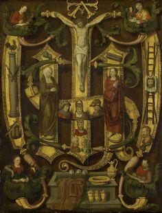 Anonymous | Monogram of Christ combined with Instruments of the Passion, Anonymous, c. 1560 | De Arma Christi. Het monogram van Christus gecombineerd met de passiewerktuigen.