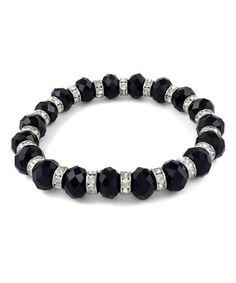 Look what I found on #zulily! Black Austrian Crystal Stretch Bracelet #zulilyfinds
