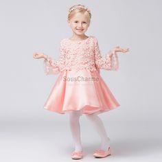 8c1277268c4fb robe cérémonie fille pour mariage pas cher en satin et dentelle rose avec  manches longues évasées