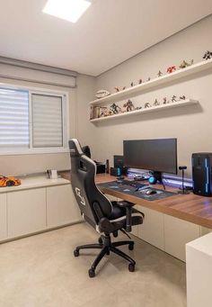 ideas home office quarto gamer Small Bedroom Office, Bedroom Setup, Home Office Setup, Home Office Design, House Design, Office Desk, Best Computer Chairs, Gaming Room Setup, Gamer Setup