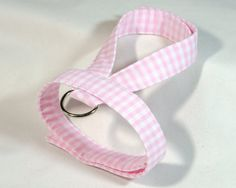 Small dog harness velcro close Pink Gingham 1 by ParkAvenueDogs