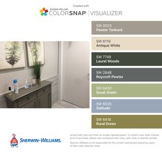 I found these colors with ColorSnap® Visualizer for iPhone by Sherwin-Williams: Pewter Tankard (SW 0023), Antique White (SW 6119), Laurel Woods (SW 7749), Roycroft Pewter (SW 2848), Great Green (SW 6430), Solitude (SW 6535), Rural Green (SW 6418).