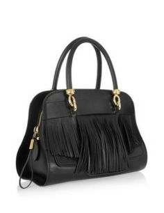 TOD'S Sella Small Fringed Leather Bowling Bag