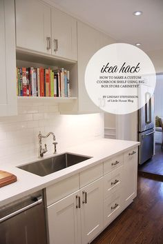 If you go with Ikea cabinets, this could be a nice option for over your sink. Ikea Hack - How to make a cookbook shelf New Kitchen, Kitchen Decor, Kitchen Ideas, Layout Design, Casa Stark, Ikea Sinks, Create A Cookbook, Cookbook Shelf, Ikea Kitchen Cabinets