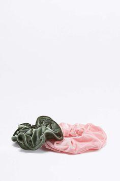 Urban Renewal Vintage Surplus Green and Pink Velvet Scrunchie Hair Band Two-Pack