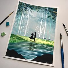 """Aishah on Instagram: """"Heyy guys 😁👋🏻 i hope you're all doing great 😁 Finally able to make a new disney inspired painting, this time it's The Sleeping Beauty 😍💚…"""" Disney Animated Movies, Disney Animation, Disney Inspired, I Hope You, Sleeping Beauty, Guys, Night, Artwork, Painting"""