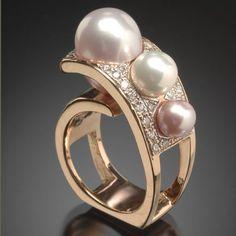 Randy Polk Designs Freshwater Pearl And Diamond Ring.......