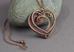 Wire wrapped pendant heart wire weave copper wire by OrioleStudio