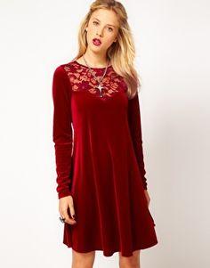 ASOS Swing Dress in Lace & Velvet