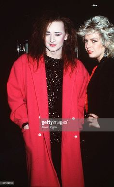 Singers Boy George and Kim Wilde out in London in (Photo by Dave Hogan/Getty Images) Duck Face, New Romantics, Culture Club, Boy George, 80s Music, Teenage Years, Pop Singers, Popular Culture, 80s Fashion