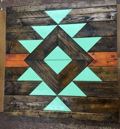 Hand crafted Aztec wood wall decor about in Reclaimed Wood Wall Art, Wood Wall Decor, Wooden Wall Art, Diy Wall Art, Wood Art, Barn Quilt Designs, Barn Quilt Patterns, Wood Patterns, Aztec Decor