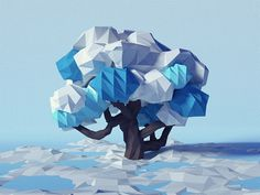 Low Poly (Imaginary) Winter Tree