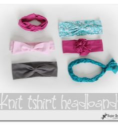 FROM TSHIRTS - here, all in one spot, several kinds of knit headbands to make from old shirts - love these!