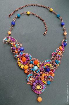 Колье Керала #jewelry #wirewrap #colorful