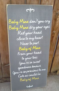 Baby Mine Dumbo Disney Nursery Song Wooden Distressed Subway Art Sign Wall Hanging. $38.00, via Etsy.