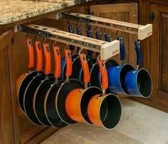 Undercounter Pull Out Hanging Pots and Pan Rack