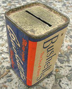 Bushell's Blue Label Money Tin - Original old Bushells Tea Tin Money Box