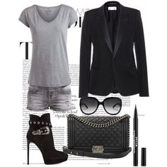 Chic chic by sikber on Polyvore featuring polyvore, fashion, style, Pieces, Yves Saint Laurent, LTB by Little Big, Chanel and Christian Dior
