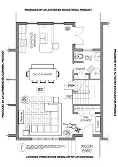 plan d taill de l 39 am nagement des aires communes d 39 un condo de style avant gardiste occup par. Black Bedroom Furniture Sets. Home Design Ideas