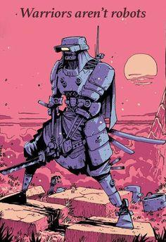 Art Cyberpunk, Cyberpunk Aesthetic, Cyberpunk Character, Neon Aesthetic, Cyberpunk Fashion, Robot Samurai, Samurai Art, Samurai Drawing, Robot Illustration