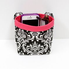 PHONE CAR CADDY iPhone Case Black and White Damask by GreenGoose, $16.00