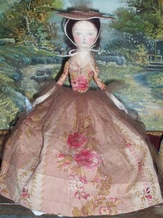 colonial lady cloth doll with soft painted face~ by julie bailey primitives