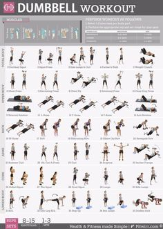 19 X 27 Dumbbell workout for poster women. New to working out and have a pair of dumbbells, this exercise poster contains everything you need to reach your fitness goal. Available now with free… Zumba Fitness, Body Fitness, Fitness Workouts, At Home Workouts, Fitness Tips, Fitness Goals For Women, Workout From Home, Physical Fitness, Enjoy Fitness