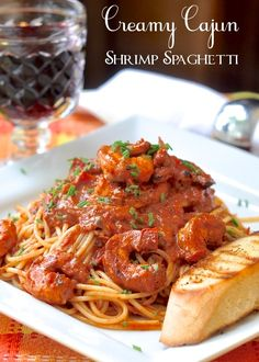 Creamy Cajun Shrimp Spaghetti - a delicious, spicy, satisfying plate of pasta with succulent grilled Cajun shrimp. Boneless chicken breast pieces can easily be substituted for the shrimp.