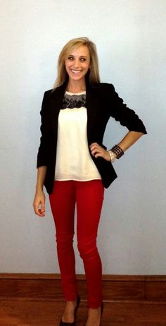 Red jeans, sleeveless glittered bow shirt, black blazer