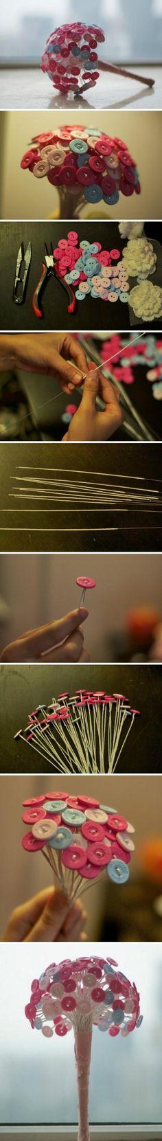 小纽扣捧花。这个造型很别致。…_来自团团小团团的图片分享-堆糖网