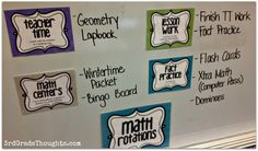 Math Rotations Work to do on whiteboard. Adapt for middle school. Great for double block.