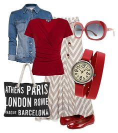"""""""On The Go in RED :)"""" by summrlynn ❤ liked on Polyvore featuring Ella Moss, MANGO, Marc Jacobs, Kaliko and TOKYObay"""