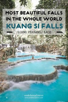 Kuang Si Waterfalls in Laos is definitely one of the most beautiful waterfalls in the world. Imagine one waterfall pouring into another amp; another and creating numerous turquoise natural pools you can jump in by swinging off ropes. Get in early and you Luang Prabang, Laos Travel, Asia Travel, Cambodia Travel, Bangkok Travel, Vietnam Travel, Voyage Laos, Travel Guides, Travel Tips