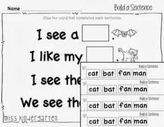 Miss Kindergarten: decodable sentence practice
