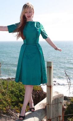 Custom Fit 1950s Style Satin Cocktail Dress Any by DaintyRascal, $260.00
