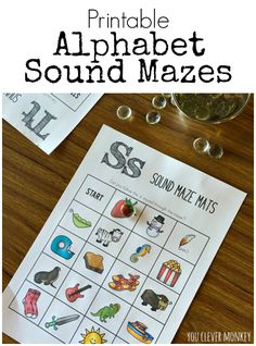 Printable Alphabet Sound Mazes - print and play! Perfect for Daily 5 literacy activities in Pre-K and Kindergarten or literacy centres | you clever monkey