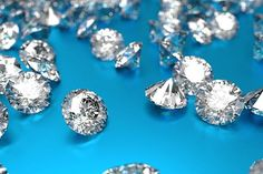 Luxury diamonds on blue background stock photo
