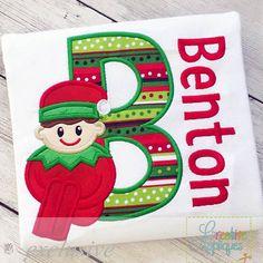 Sitting Elf Boy Alphabet Applique Set