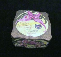 1910s Richard Hudnut Powder Box Sweet Orchid  Art Nouveau Box