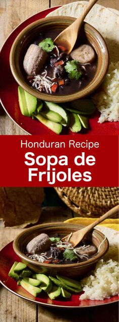 de frijoles is a delicious traditional black bean soup from Honduras, usually prepared with pork rind or small pork ribs.Sopa de frijoles is a delicious traditional black bean soup from Honduras, usually prepared with pork rind or small pork ribs. Latin American Food, Latin Food, Honduras Food, Roatan Honduras, Wallpaper Memes, Honduran Recipes, Slow Cooker Recipes, Cooking Recipes, Argentina Food