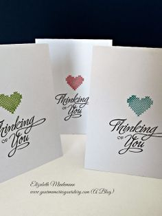 Clean & Simple card - single stamped heart with a sentiment
